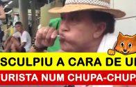 Artista de rua esculpe a cara de um turista num chupa-chupa só com os dentes